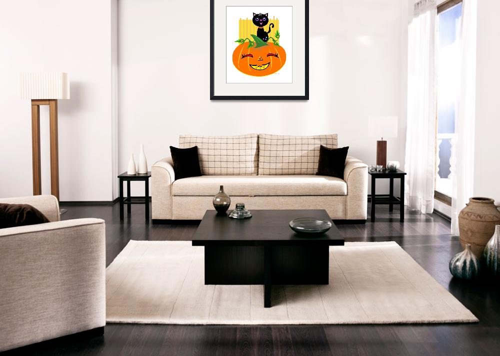 """""""Halloween Pumpkin and Black Cat&quot  (2011) by theblueplanet"""