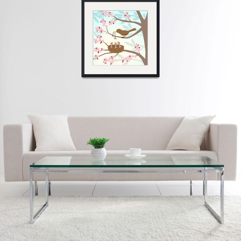 """""""Bird family in a cherry tree&quot  (2011) by eligri"""