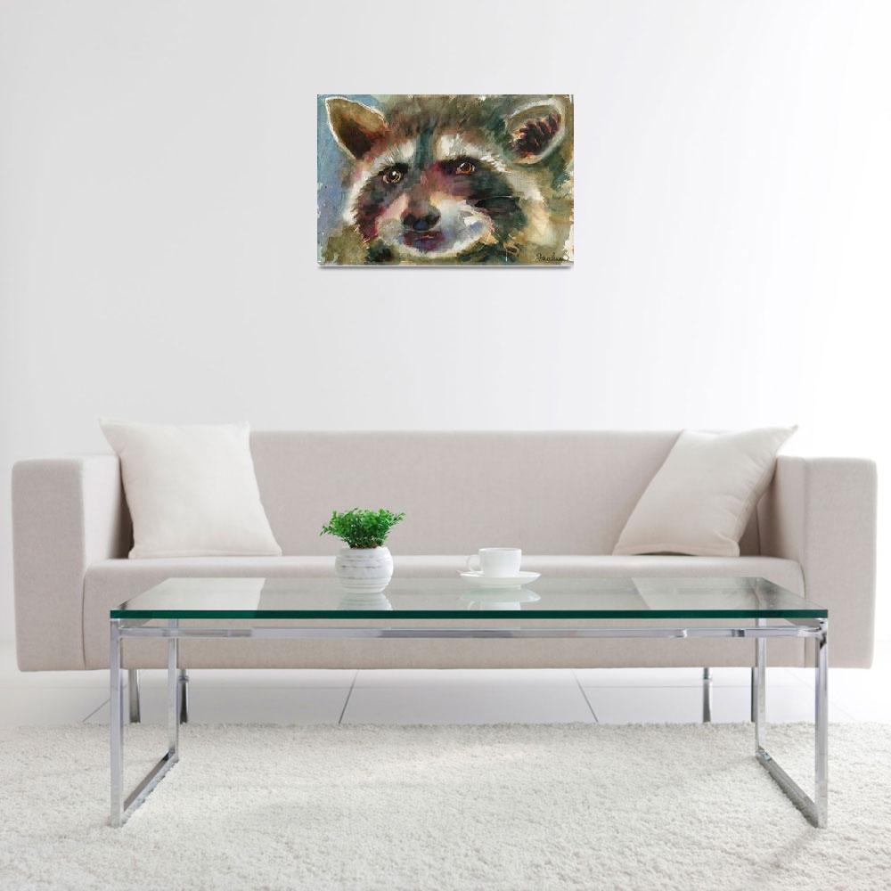 """animal art | watercolor | Raccoon painting&quot  by schulmanart"