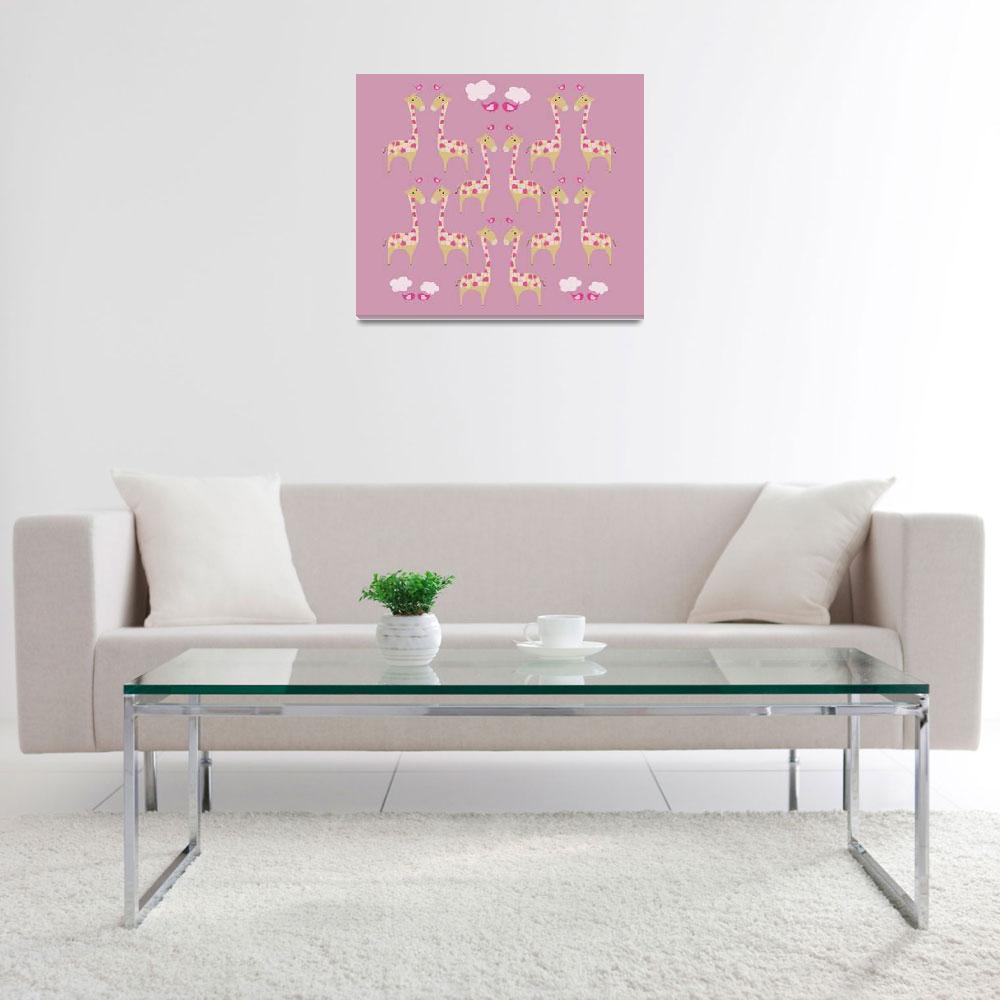 """Cute Pink Giraffes Illustration""  (2014) by CristinaBianco"