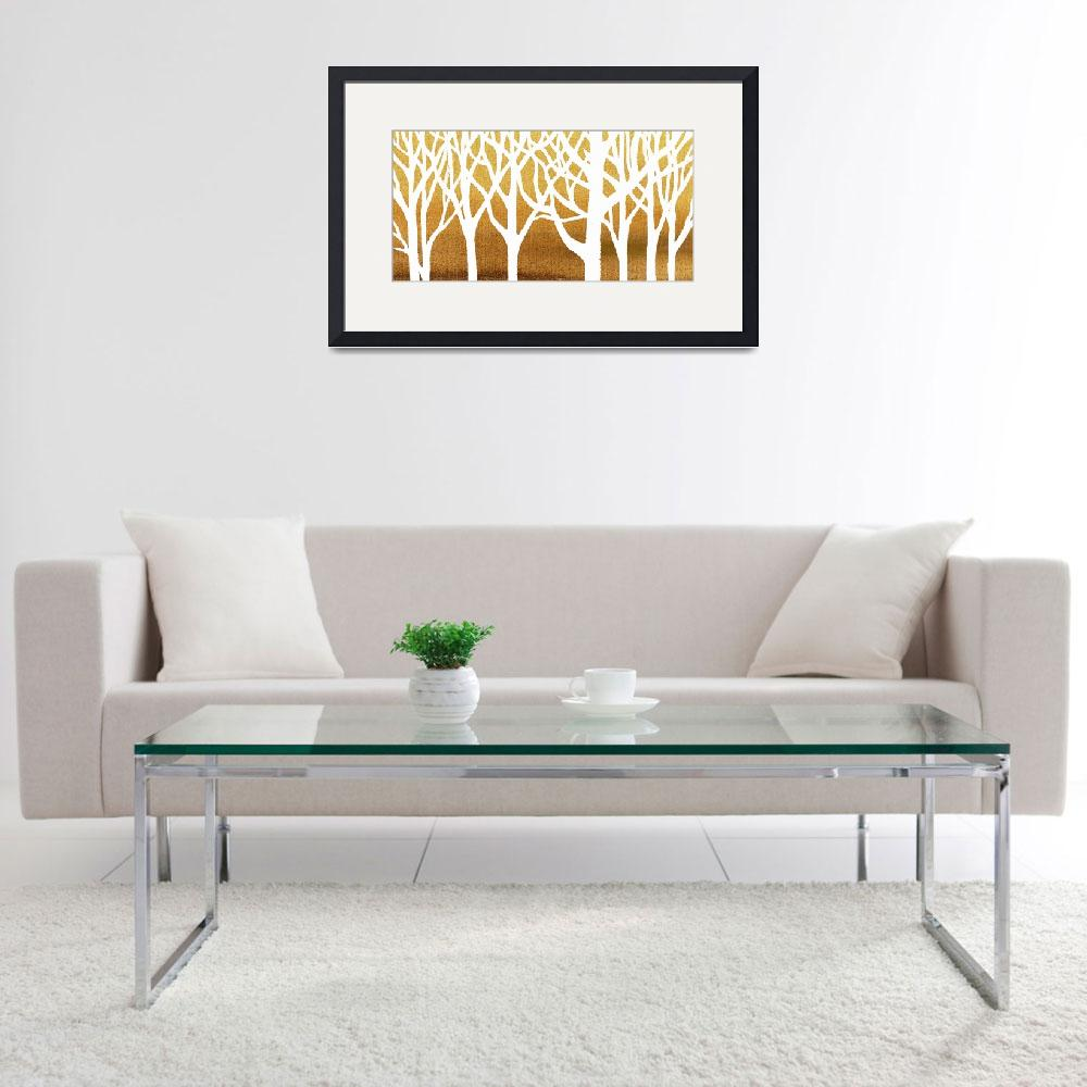 """""""White And Beige Forest Painting For Interior Decor&quot  (2018) by IrinaSztukowski"""