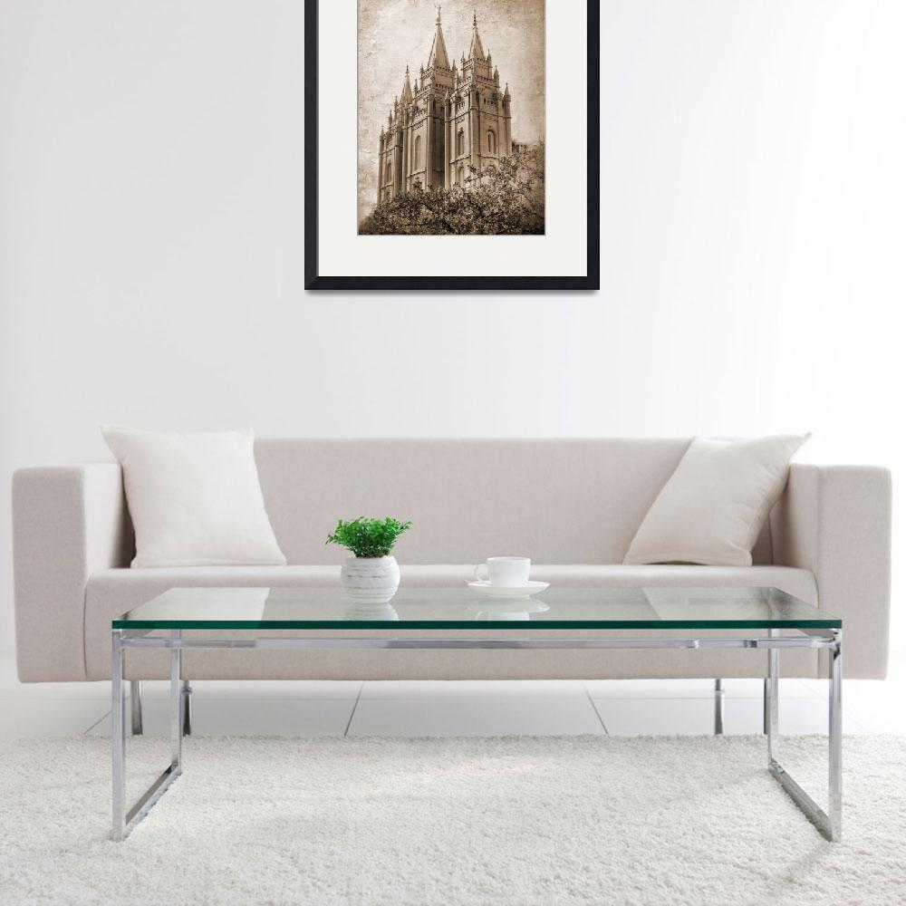 """""""Salt lake temple HDR with texture sepia&quot  by houstonryan"""
