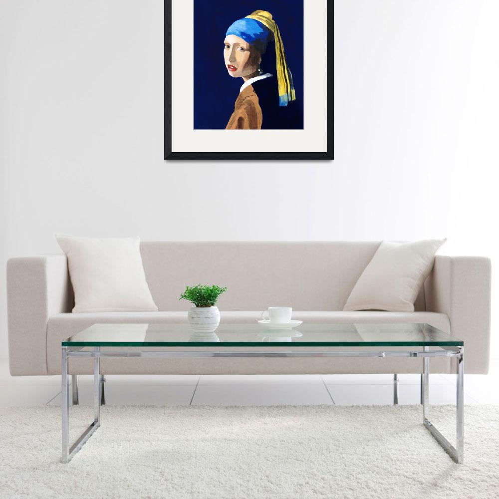 """The Girl with a Pearl Earring after Vermeer""  (2009) by RodneyCampbell"