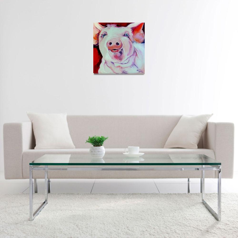 """""""MOLLY the PINK PIG""""  (2008) by MBaldwinFineArt2006"""