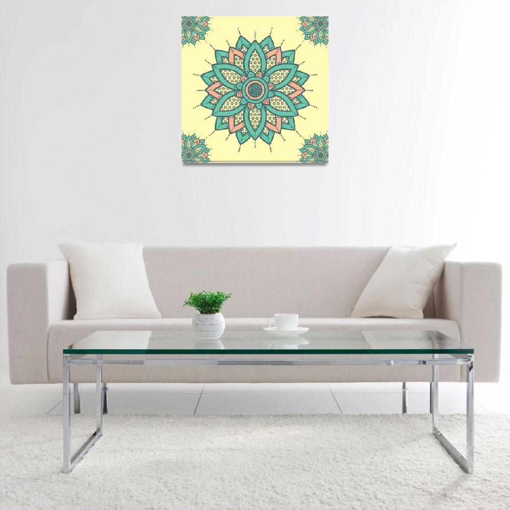 """""""Ink Toned Flower Mandala Yellow Orange Green&quot  (2019) by ImageMonkey"""