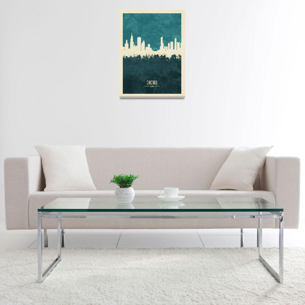 """Chicago Illinois Skyline&quot  (2018) by ModernArtPrints"