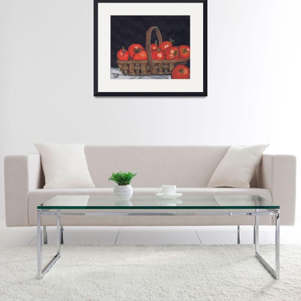 """""""Brown basket of Red Tomatoes, still life art, food""""  (2015) by artprintsgalore"""
