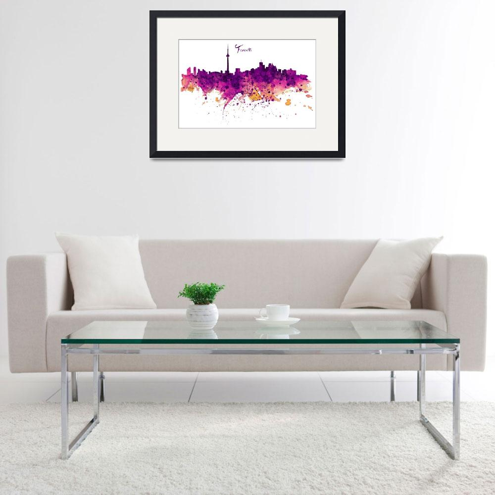 """Toronto Watercolor Skyline&quot  (2015) by MarianVoicu"
