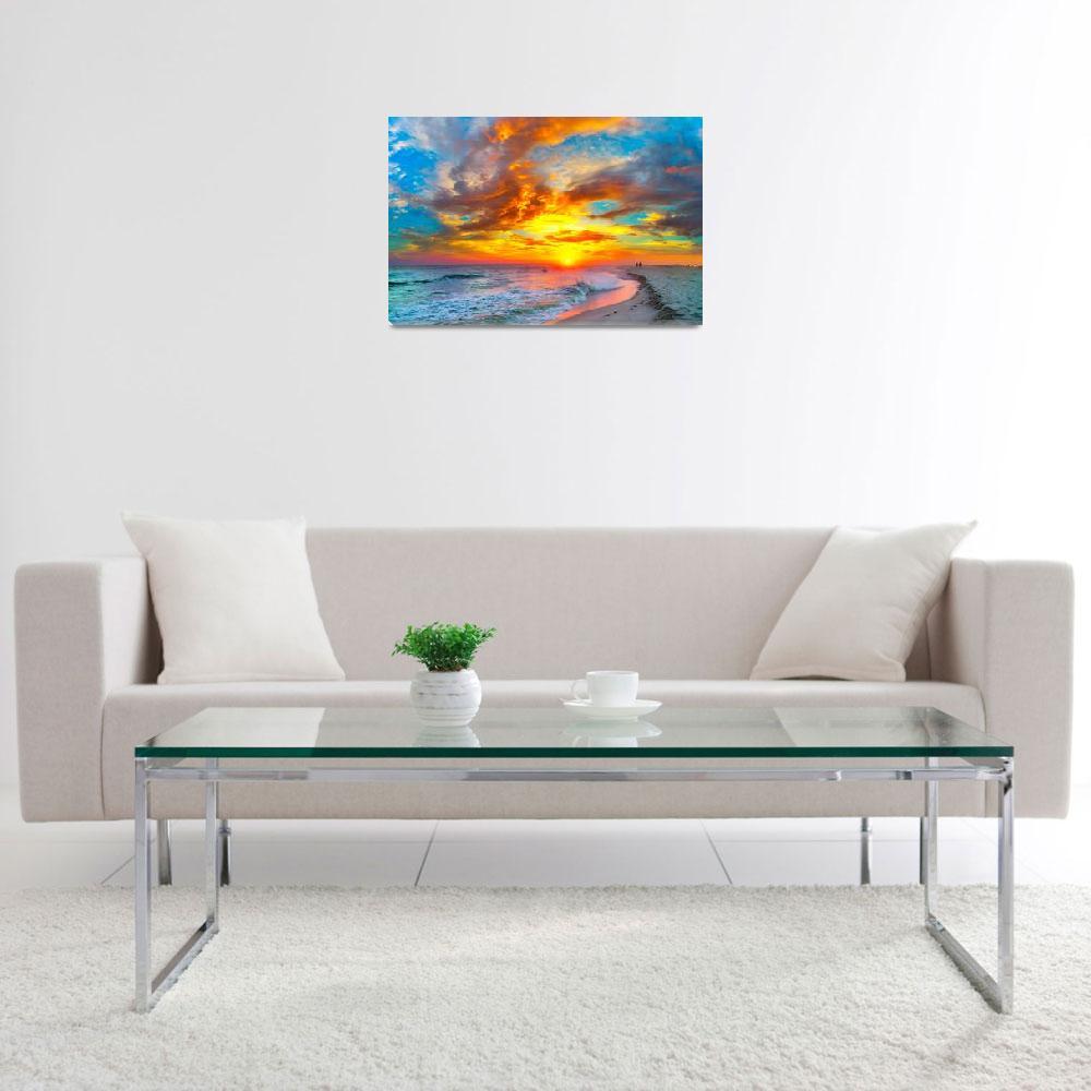 """red ocean sunset orange beach clouds""  (2015) by eszra"