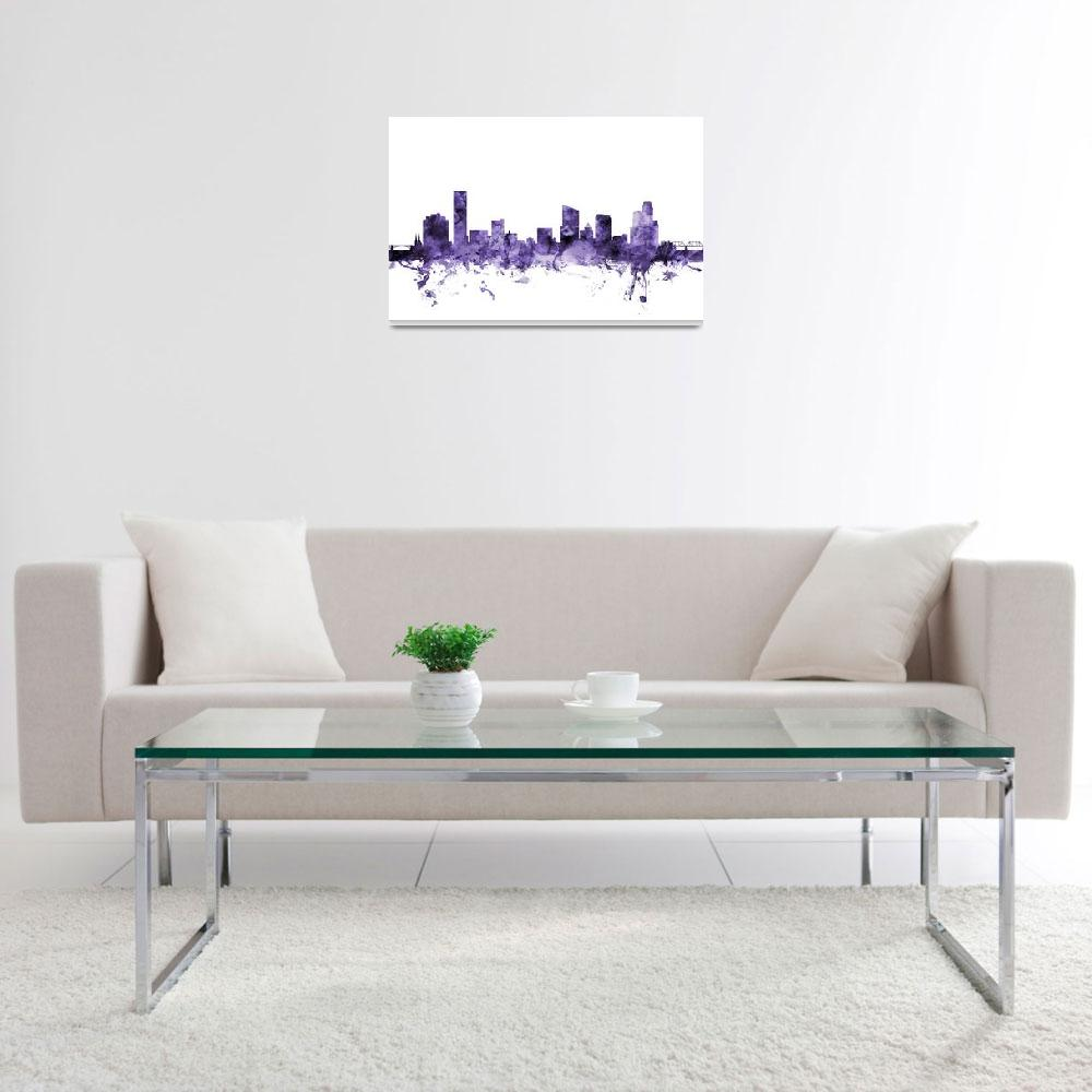 """Grand Rapids Michigan Skyline&quot  (2018) by ModernArtPrints"