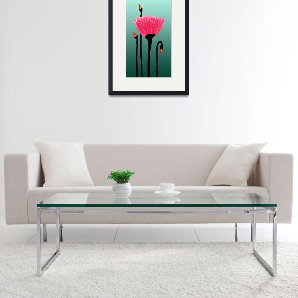 """""""Expressive Red Pink Green Poppy Painting 3310t&quot  (2016) by Ricardos"""