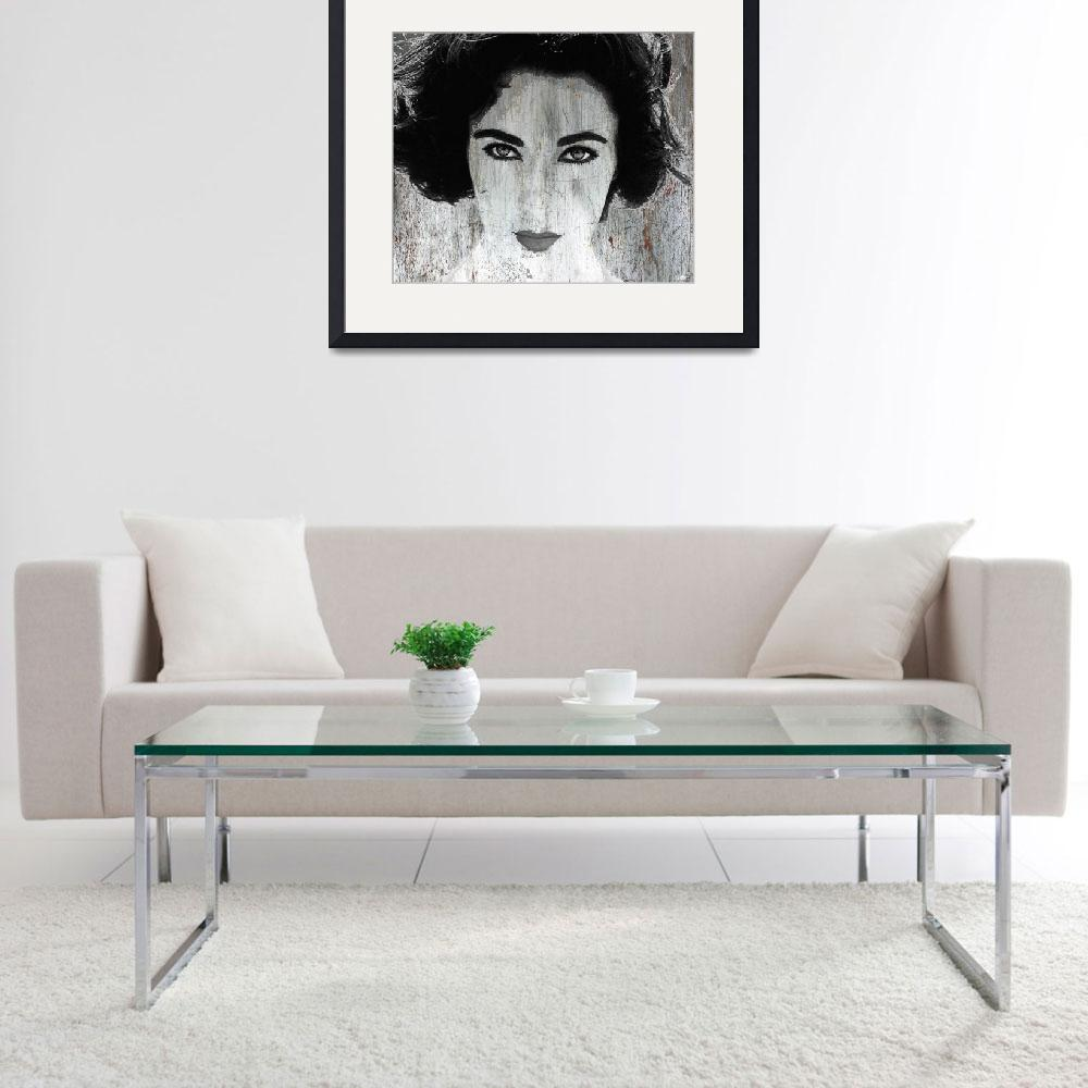 """Silver Screen Liz Taylor&quot  (2017) by RubinoFineArt"