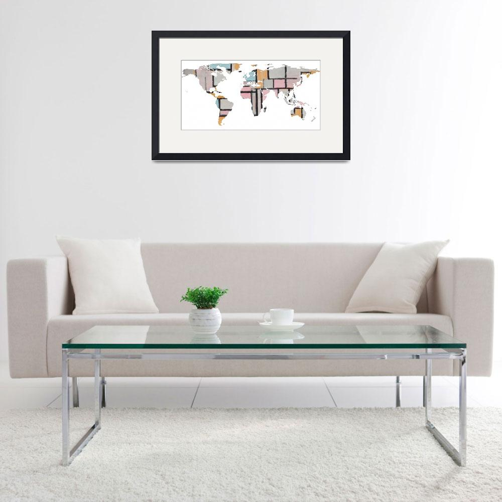 """""""World Map Silhouette - Abstract Piet Mondrian&quot  by Alleycatshirts"""