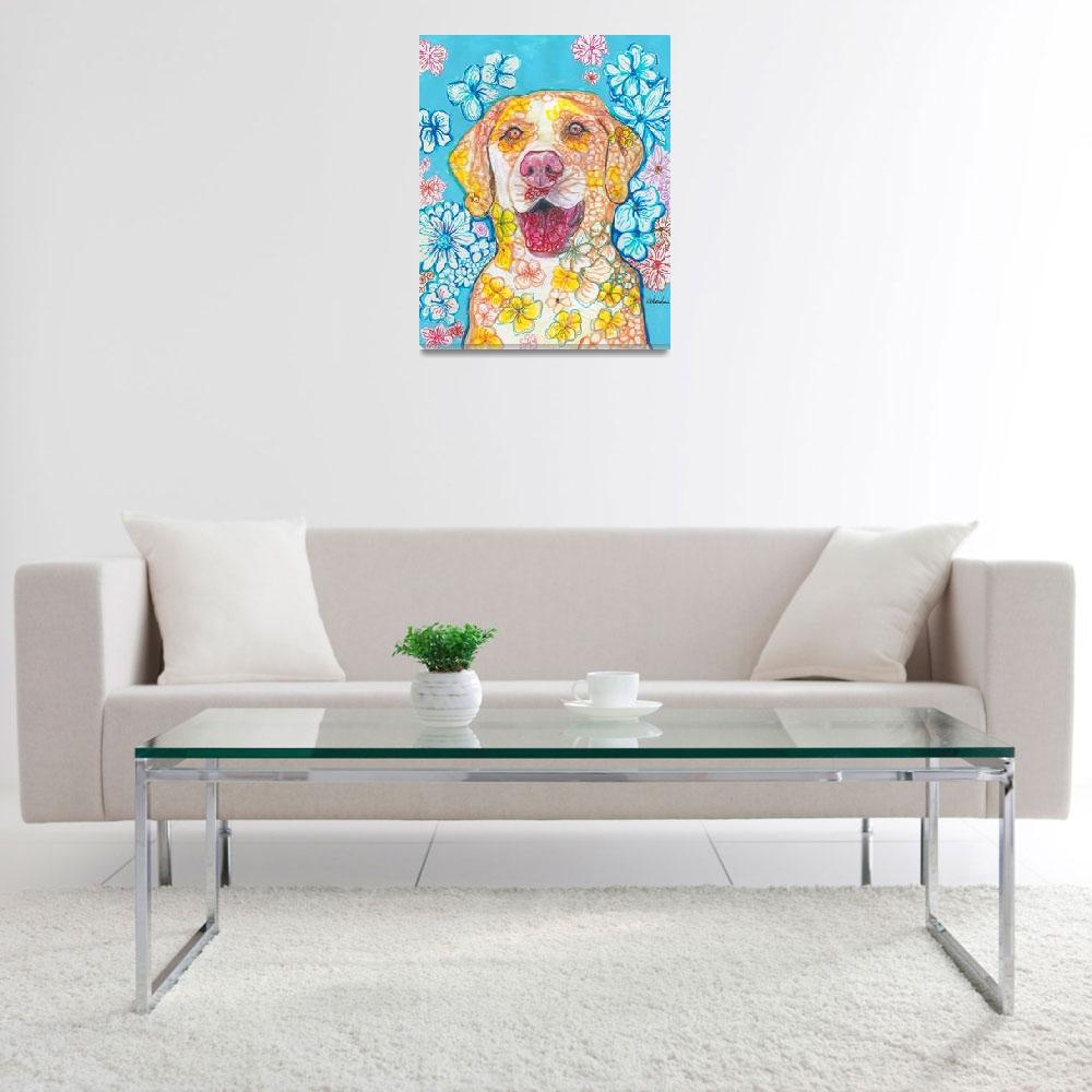 """Yellow Lab Flower Dog Pop Art&quot  (2018) by RDRiccoboni"