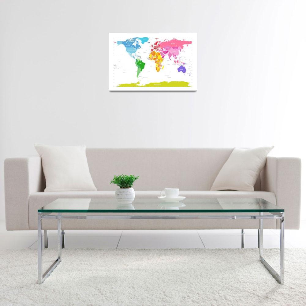 """Continents World Map""  (2012) by ModernArtPrints"