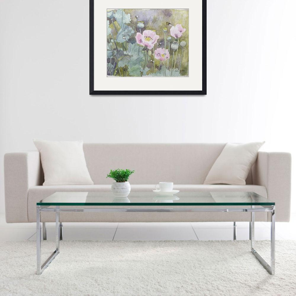 """""""Pink poppies with bees&quot  by fineartmasters"""