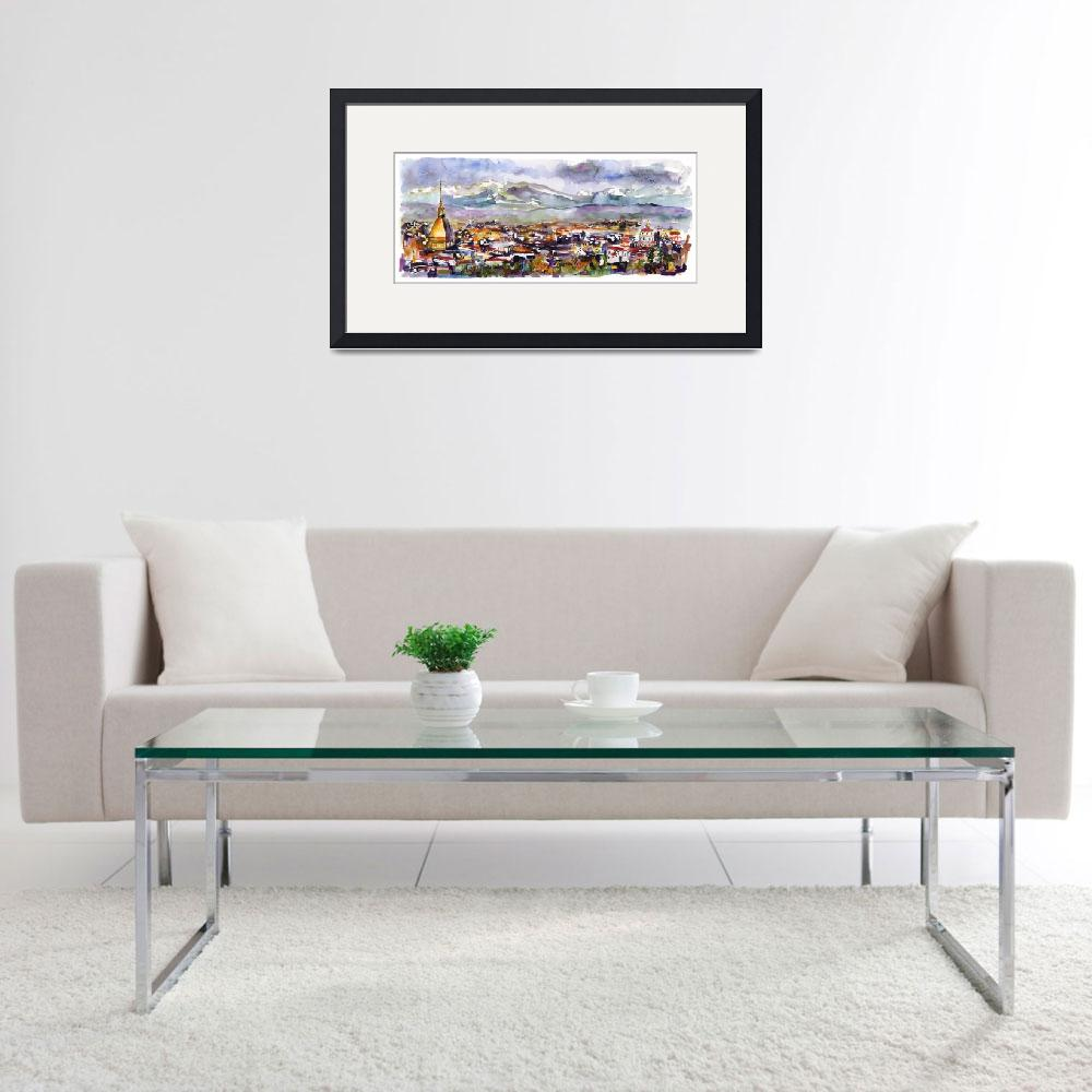 """""""Torino Turin italy Panoramic Cityscape Watercolor""""  (2019) by GinetteCallaway"""
