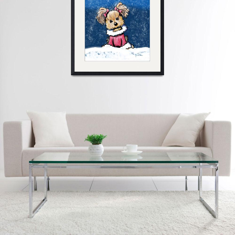 """""""Winter Whimsy Yorkie Terrier&quot  (2008) by KiniArt"""