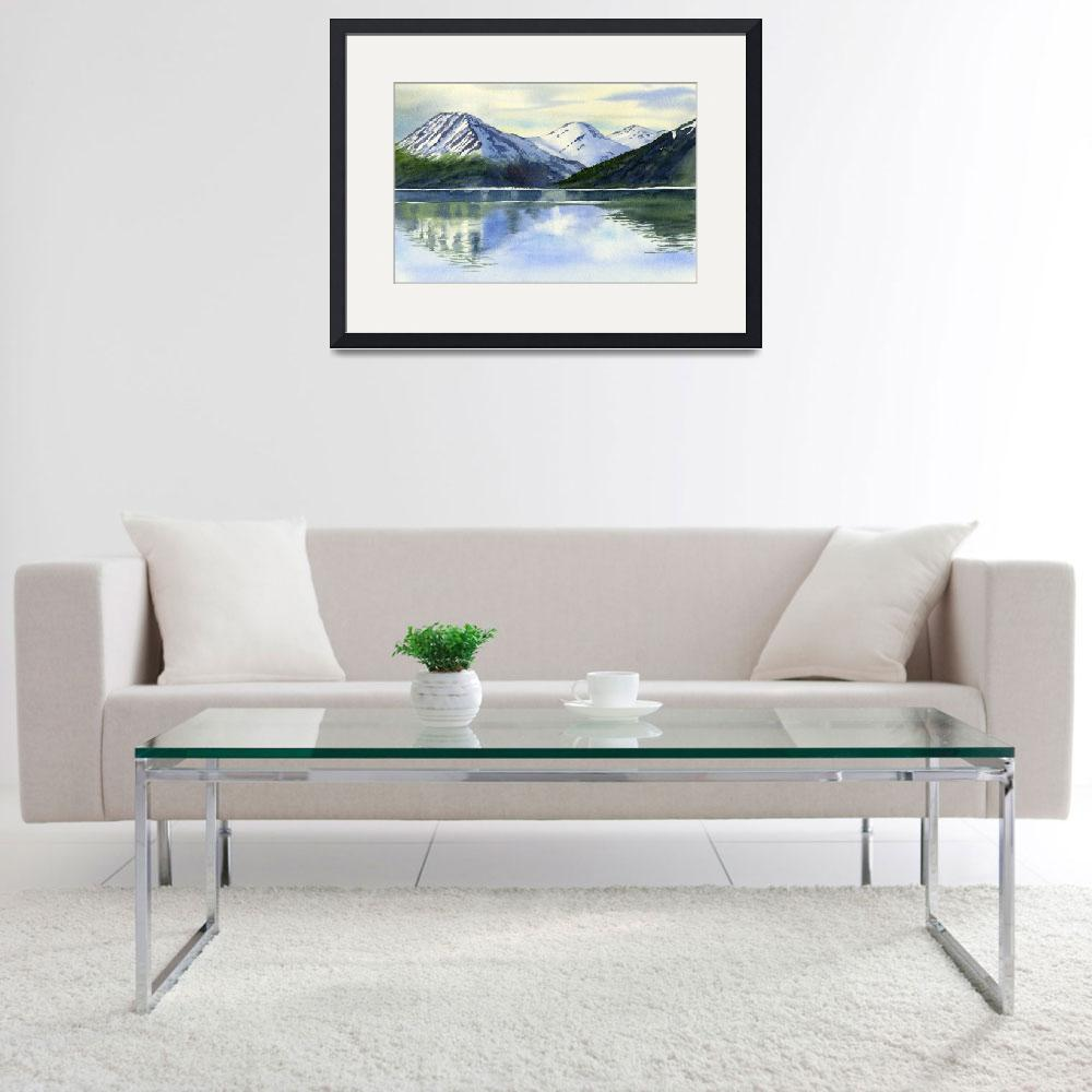 """Alaska Mountain Reflections Turnagain Arm""  (2012) by Pacific-NW-Watercolors"
