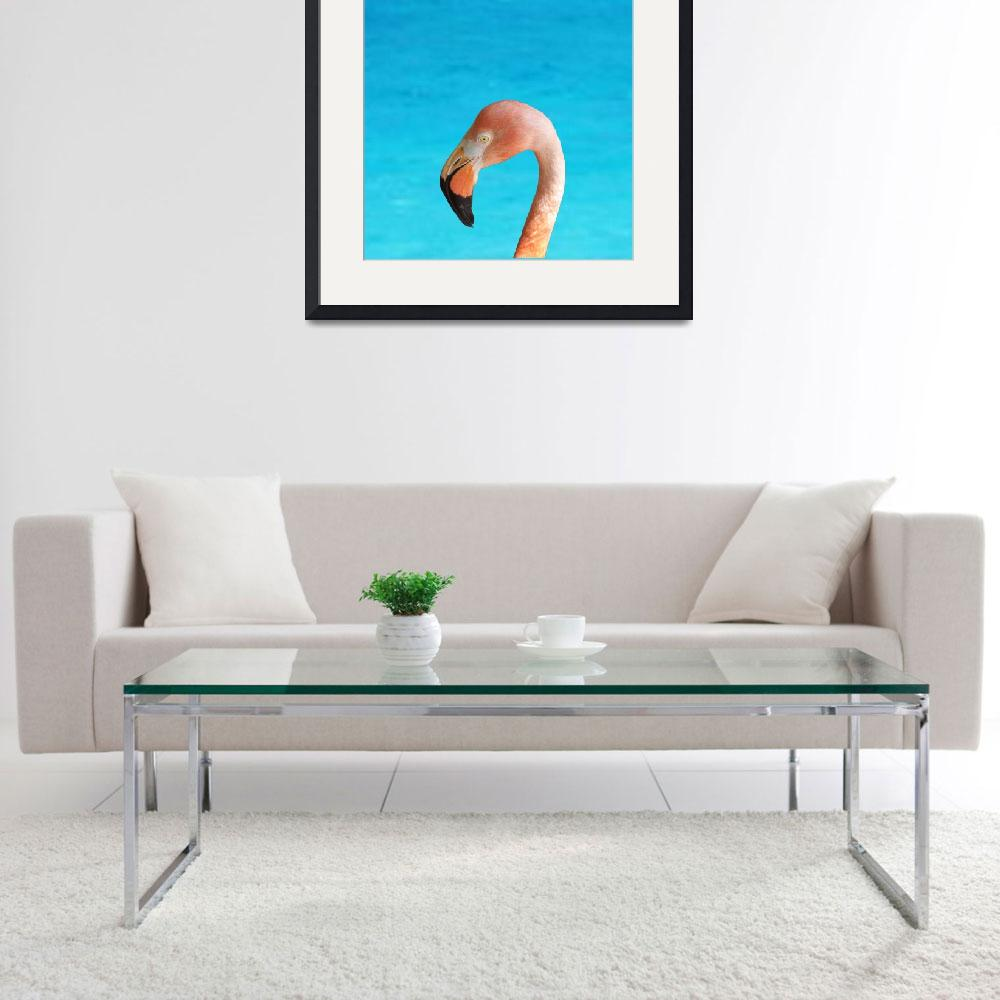 """""""flamingo face in profile on blue""""  (2018) by NormaStampSunnyDaze"""