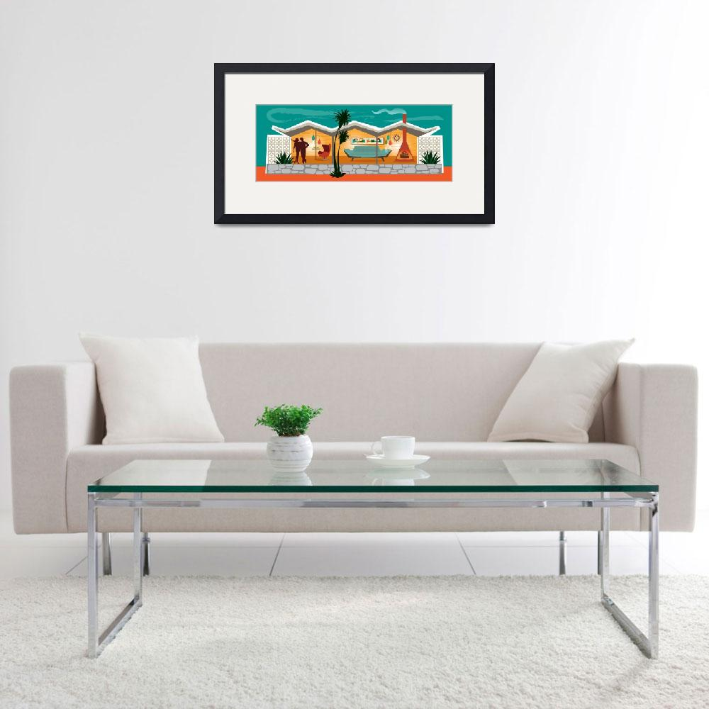 """""""Mid Century Modern House - Folded Plate Roof""""  (2015) by DianeDempseyDesign"""