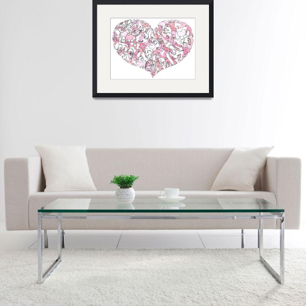 """""""Whimsical Pink Heart&quot  (2005) by createdcreating"""