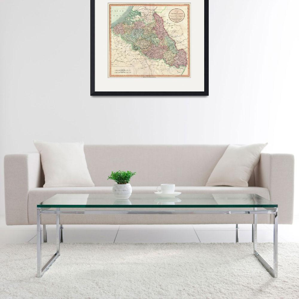 """""""Vintage Map of Belgium & Luxembourg (1804)""""  by Alleycatshirts"""