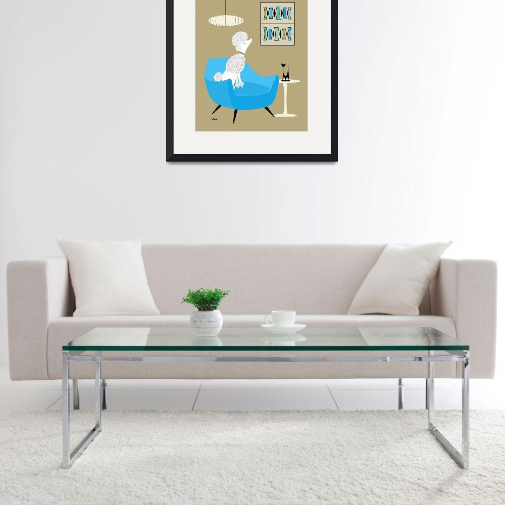 """""""Mini Trapezoids White Poodle in Blue""""  by DMibus"""