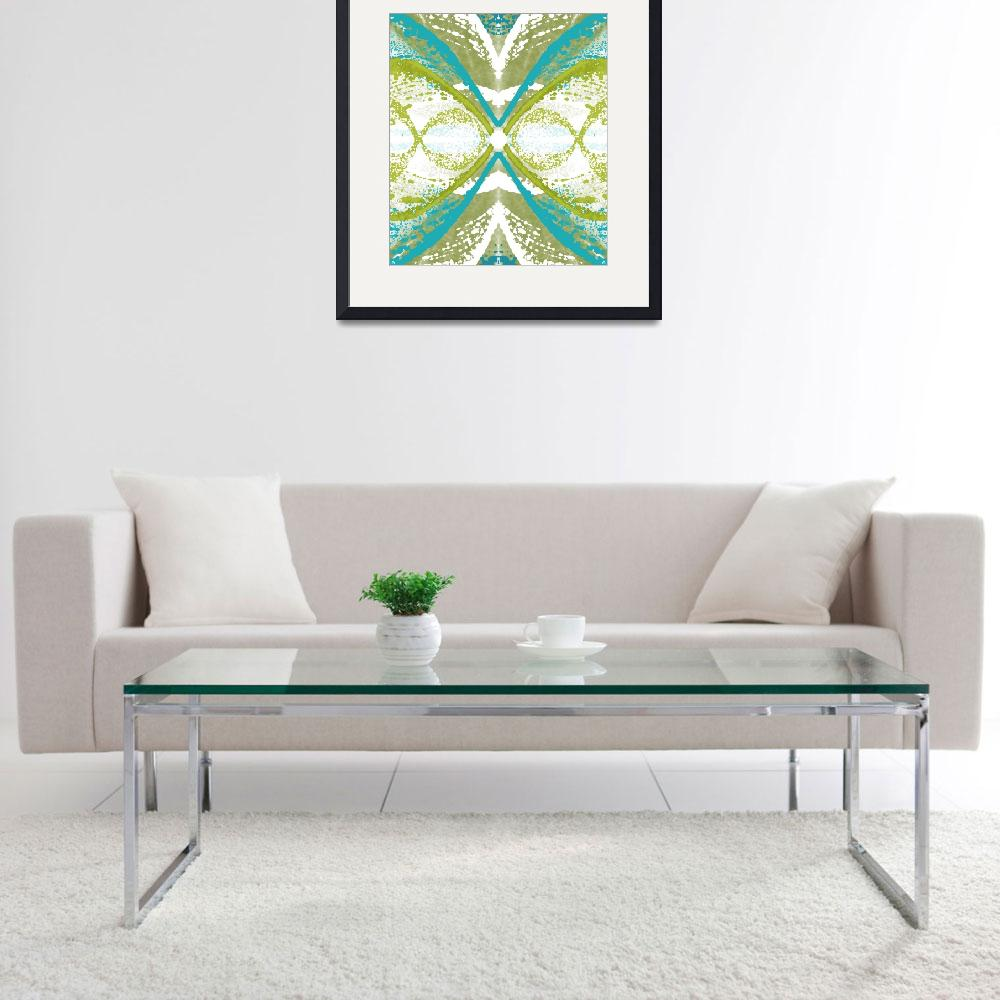 """""""Blue and Green Abstract Wings&quot  (2015) by TolliverArts"""