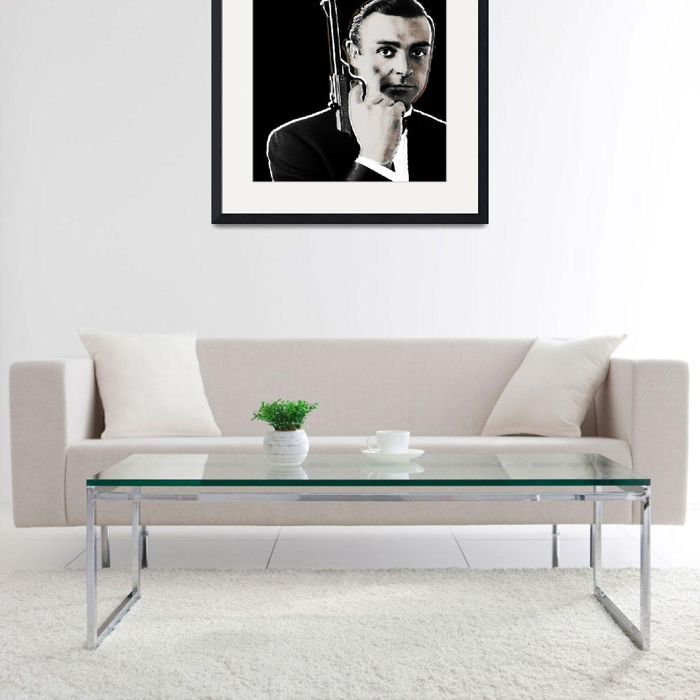 """Sean Connery James Bond Square&quot  (2013) by RubinoFineArt"