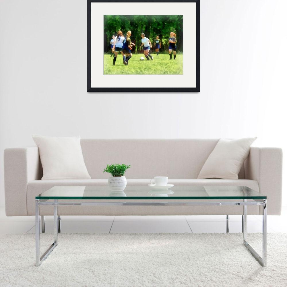"""""""Girls Playing Soccer&quot  by susansartgallery"""