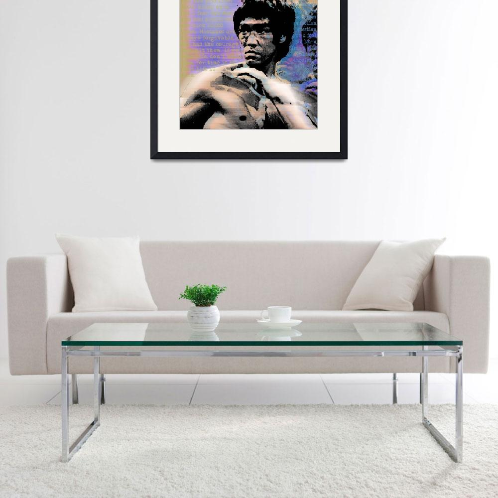 """""""Bruce Lee and Quotes Square&quot  (2013) by RubinoFineArt"""