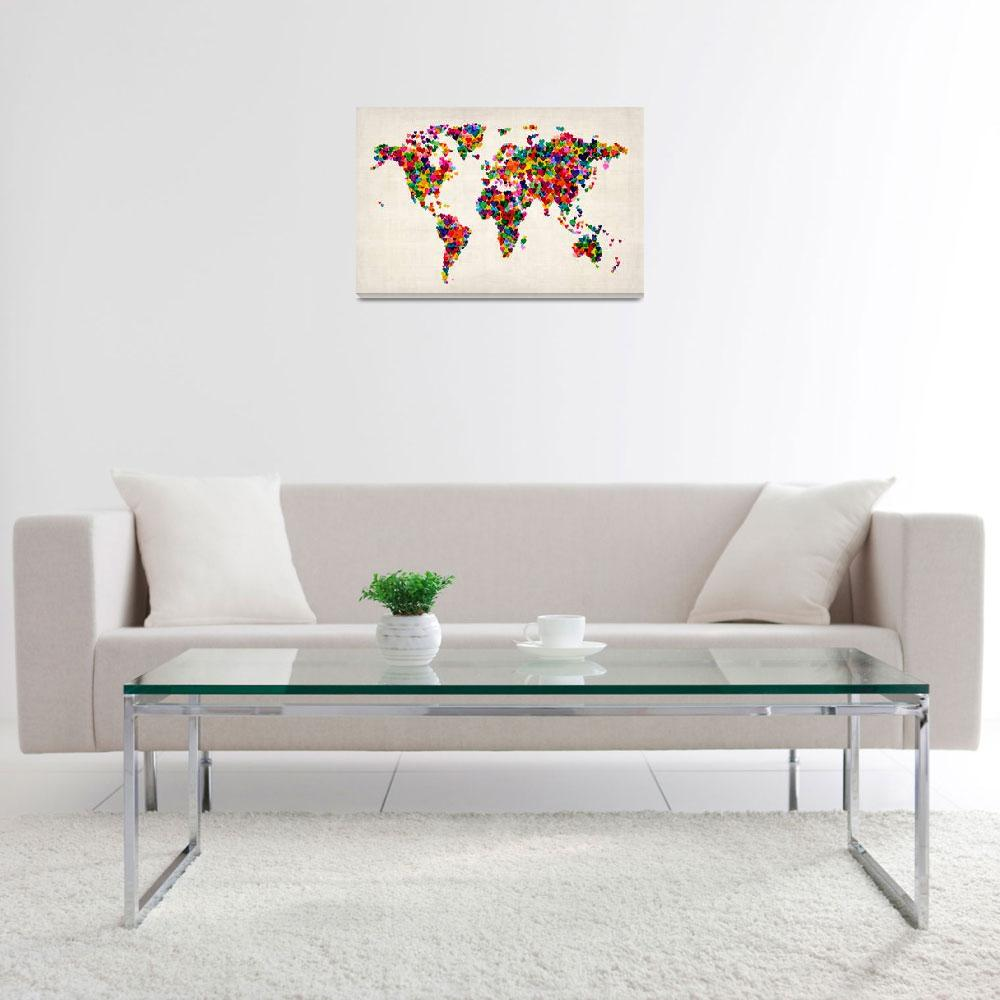 """""""Love Hearts Map of the World Map&quot  (2012) by ModernArtPrints"""