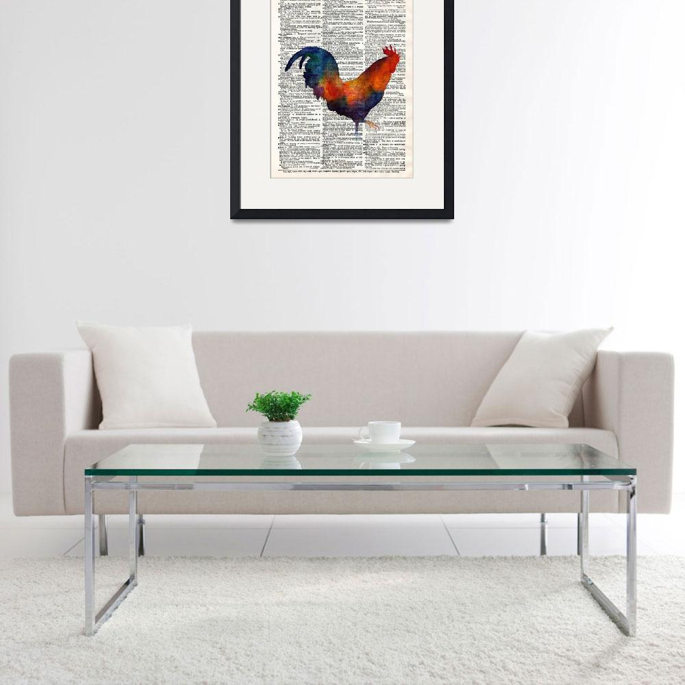 """""""Colorful Rooster on Vintage Dictionary""""  by HaileyWatermedia"""