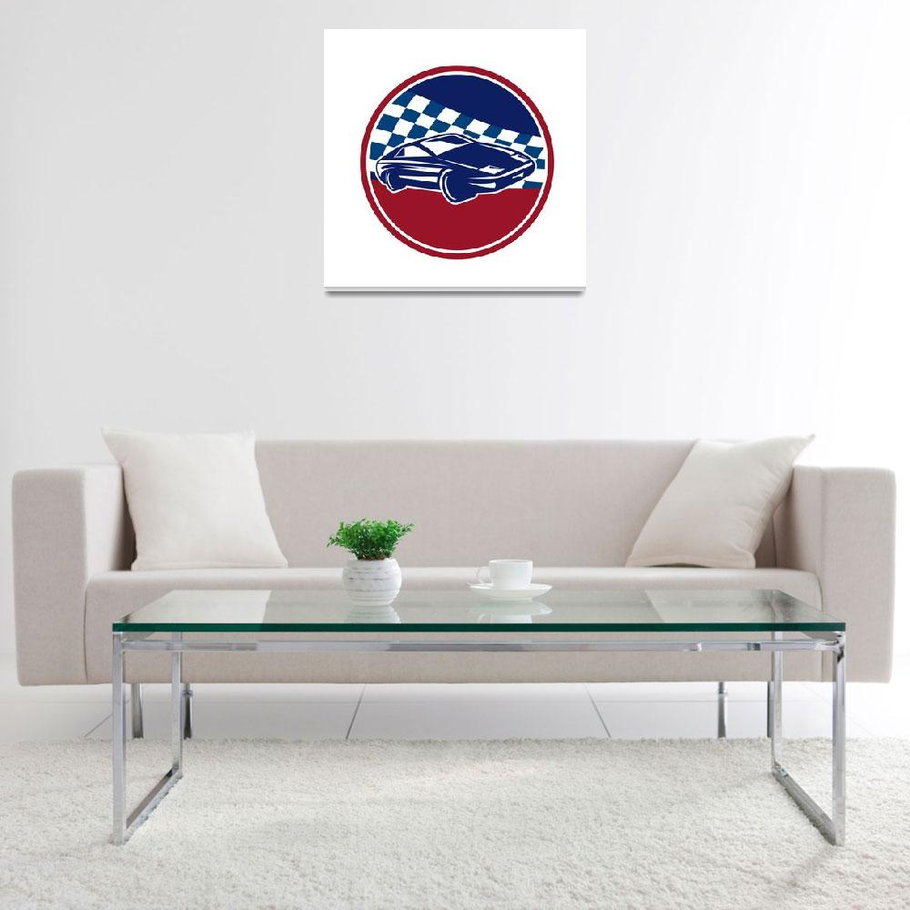 """Sports Car Racing Chequered Flag Circle Retro""  (2015) by patrimonio"