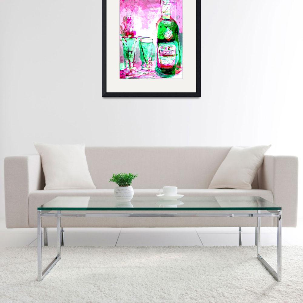 """""""Absinthe Watercolor with Digital Spanking&quot  (2016) by GinetteCallaway"""