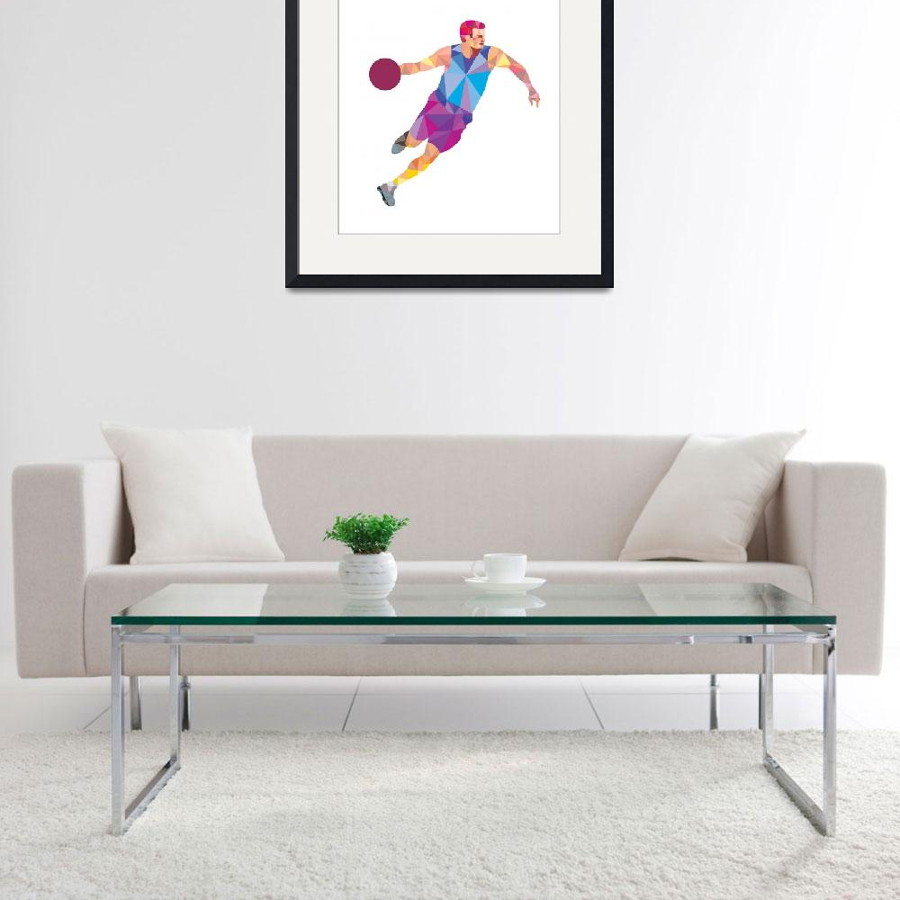 """""""Basketball Player Dribble Front Low Polygon&quot  (2015) by patrimonio"""
