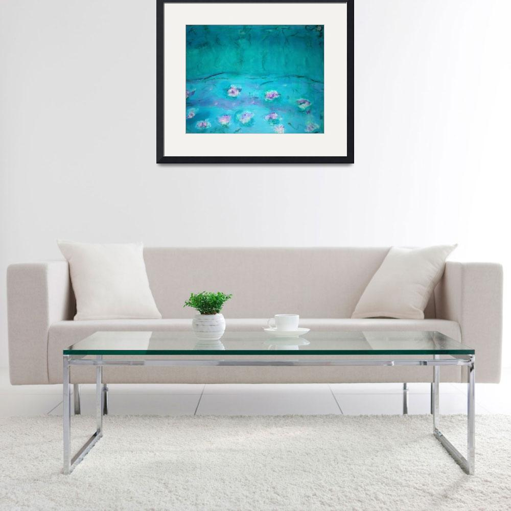 """Waterlilies Turquoise&quot  (2011) by angelaart"