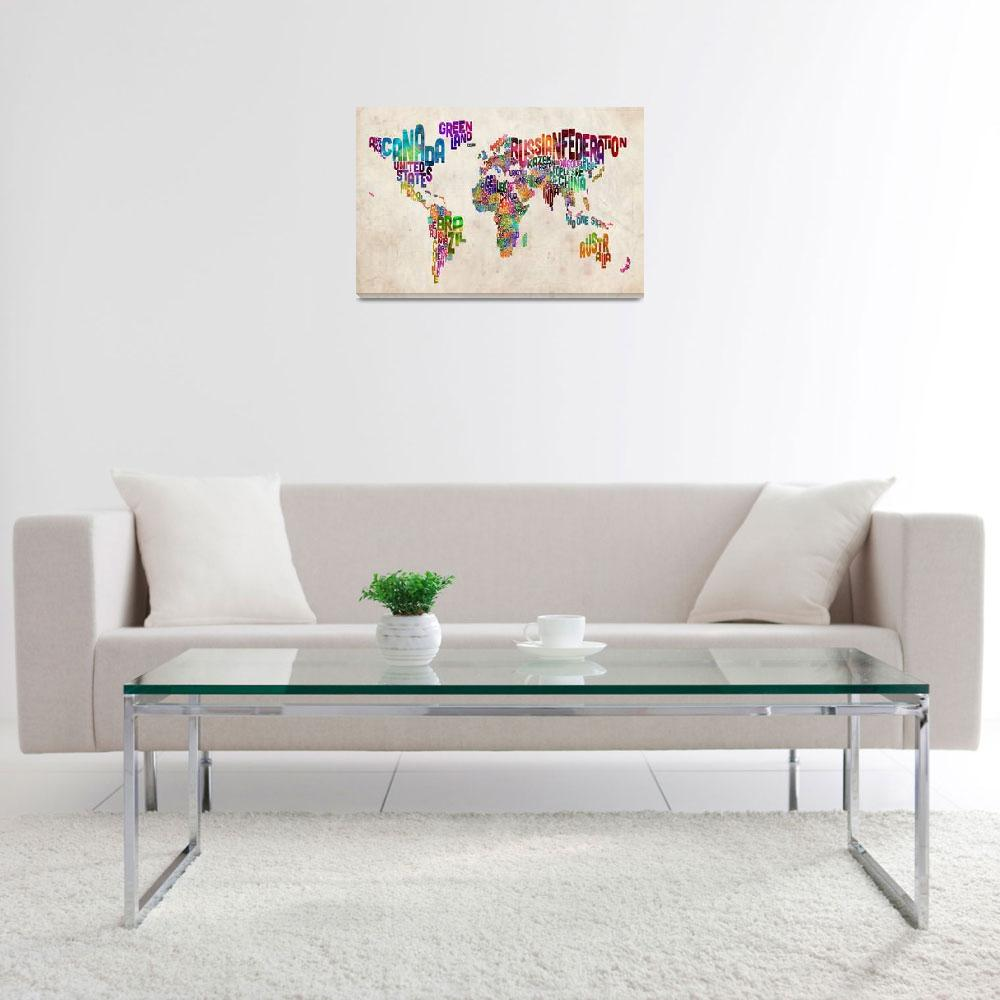 """""""Text Map of the World Urban Watercolor&quot  (2012) by ModernArtPrints"""