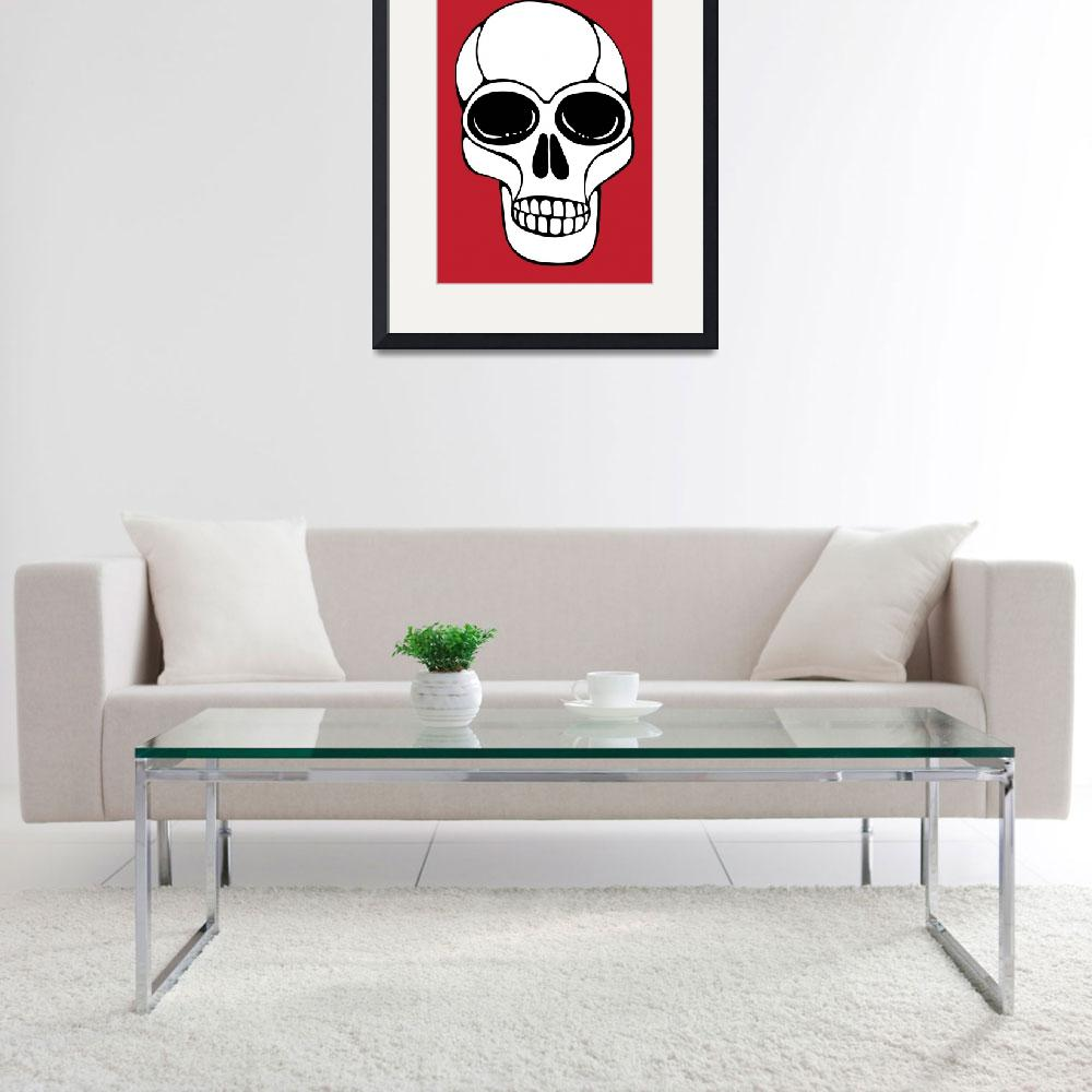 """""""Save Our Planet Skull on Red&quot  (2010) by SnarkyArt"""