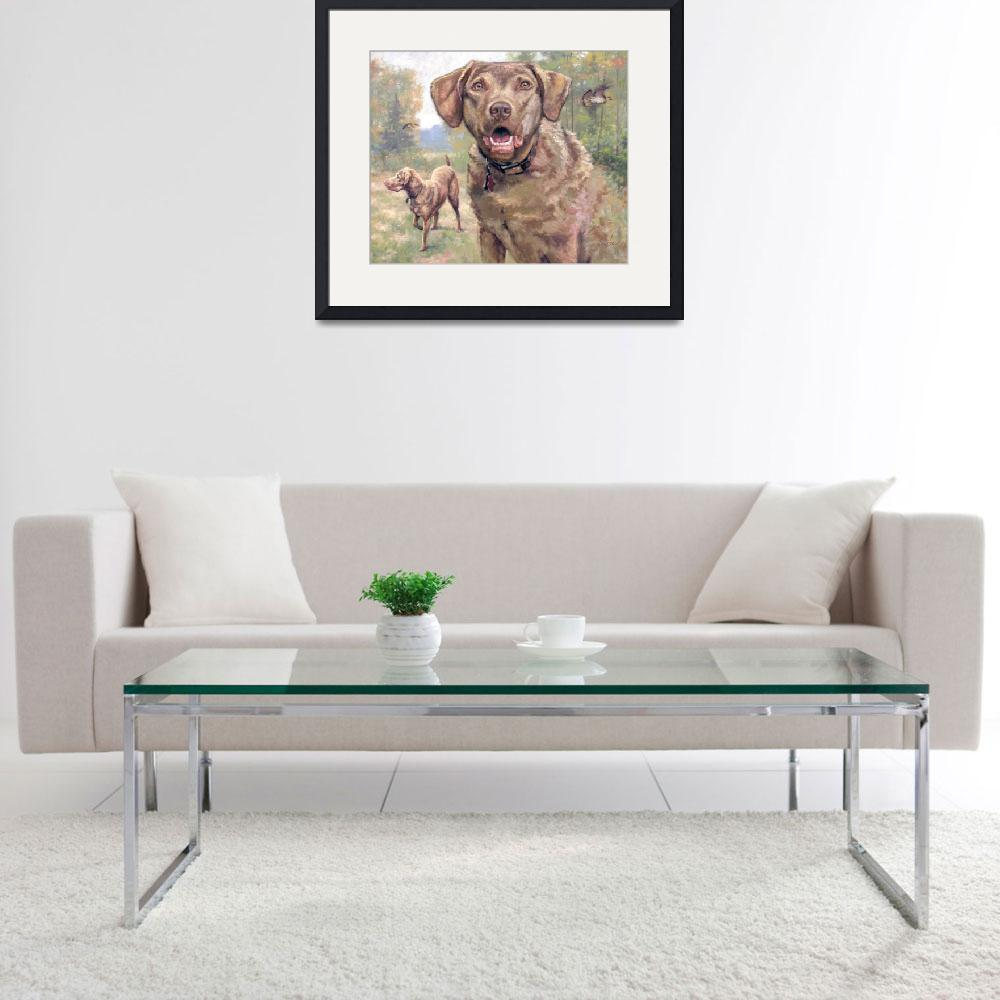 """Chesapeake Bay Retriever  Oil Painting&quot  by LarrySeiler"
