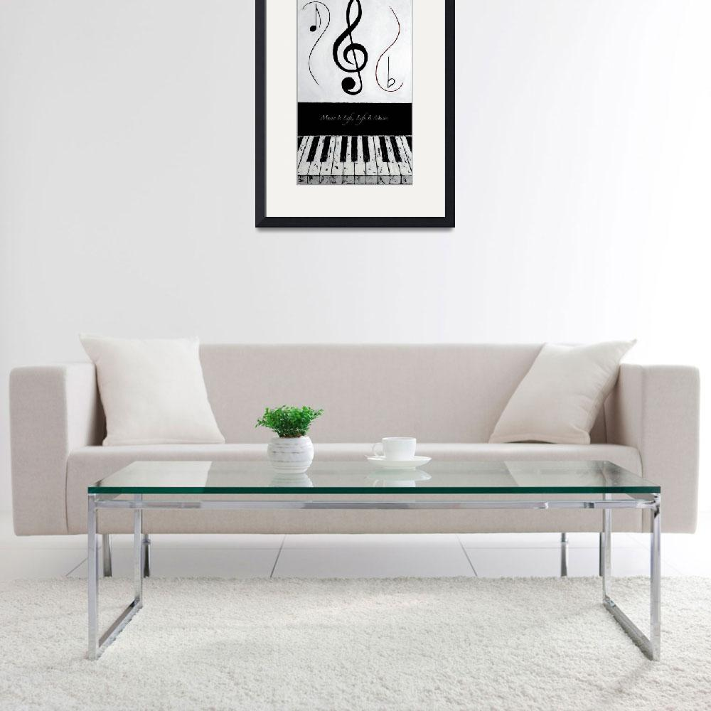"""""""Music Is Life - Life Is Music - Black Notes&quot  by waynecantrell"""