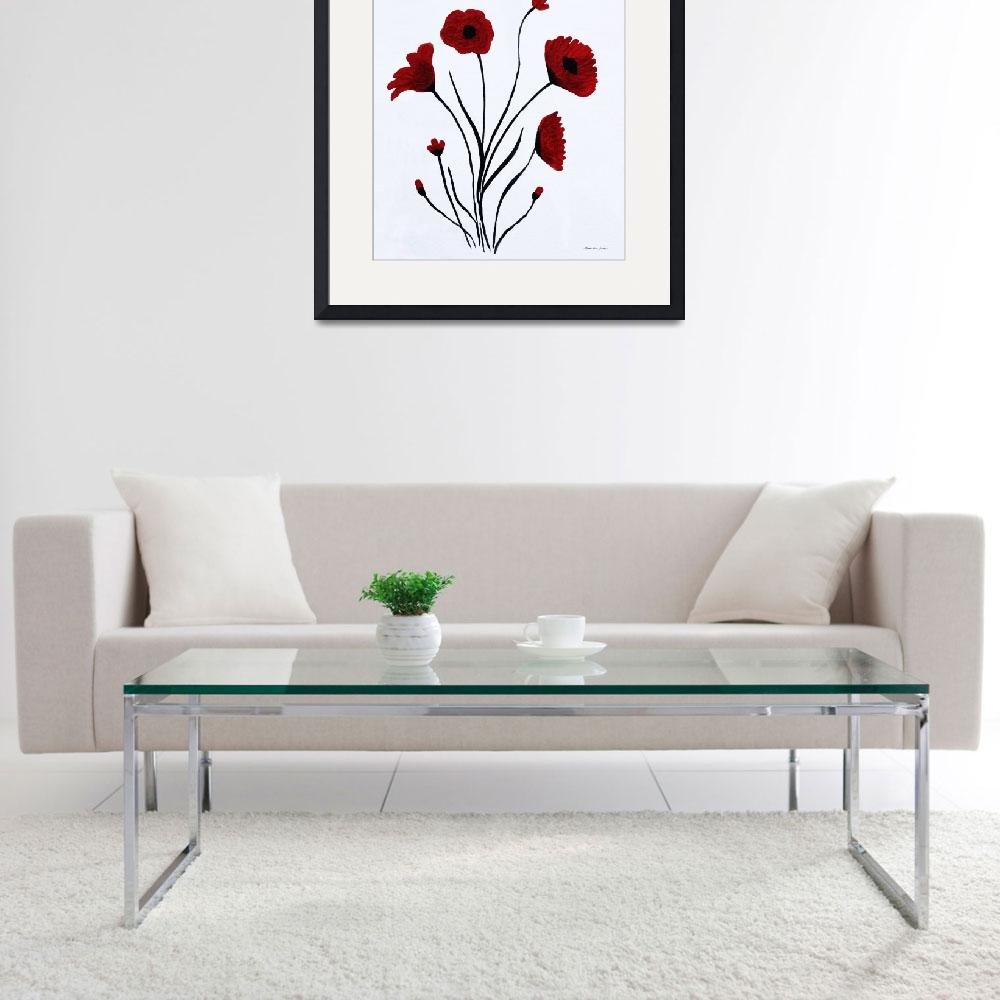 """""""Expressive Abstract Poppies A61216B_e&quot  (2016) by MasArtStudio"""