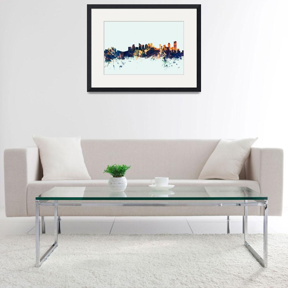 """Calgary Canada Skyline""  (2015) by ModernArtPrints"