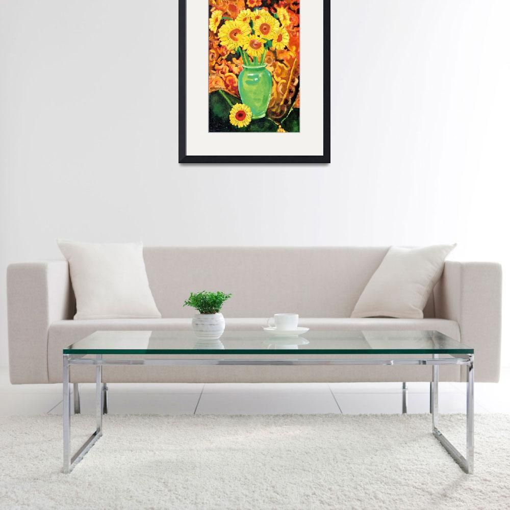"""""""Sunflowers In A Green Vase&quot  (2012) by RDRiccoboni"""