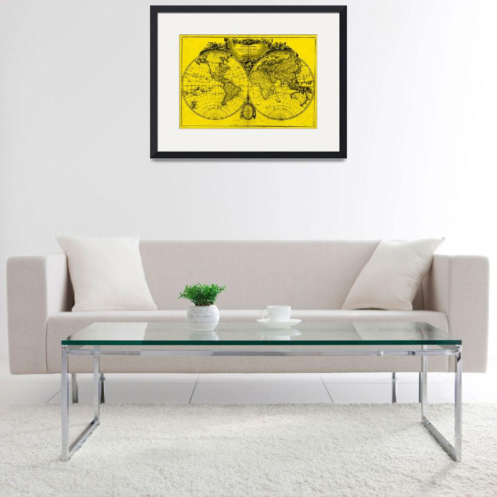 """""""World Map (1775) Yellow & Black&quot  by Alleycatshirts"""