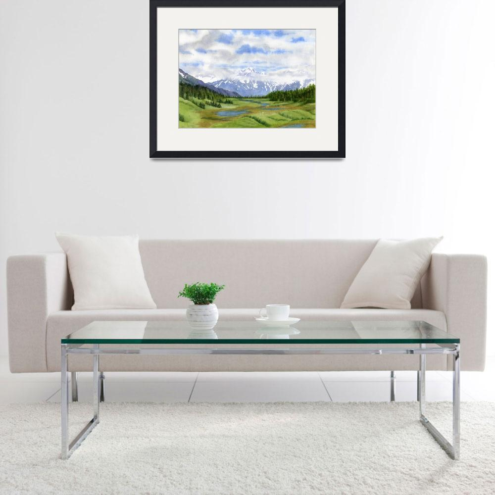 """""""Turnagain Pass Mountain View&quot  by Pacific-NW-Watercolors"""