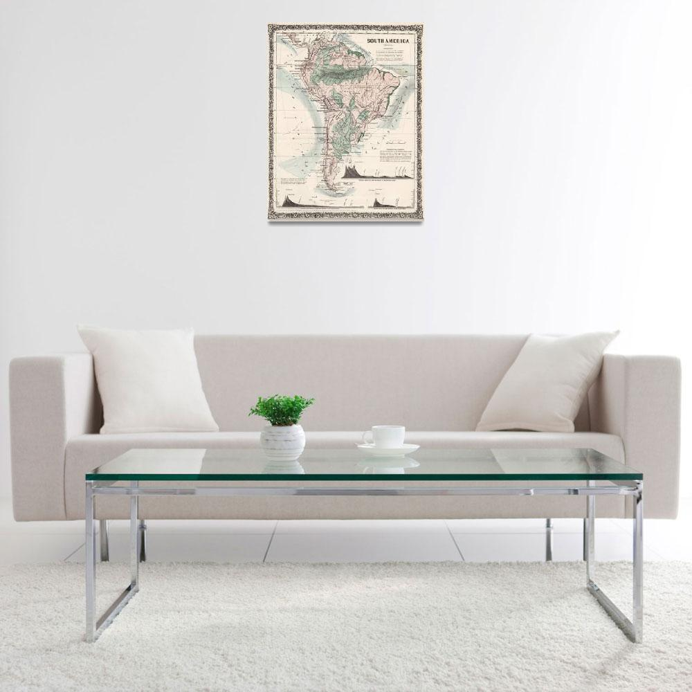 """""""Vintage Map of South America (1858)&quot  by Alleycatshirts"""