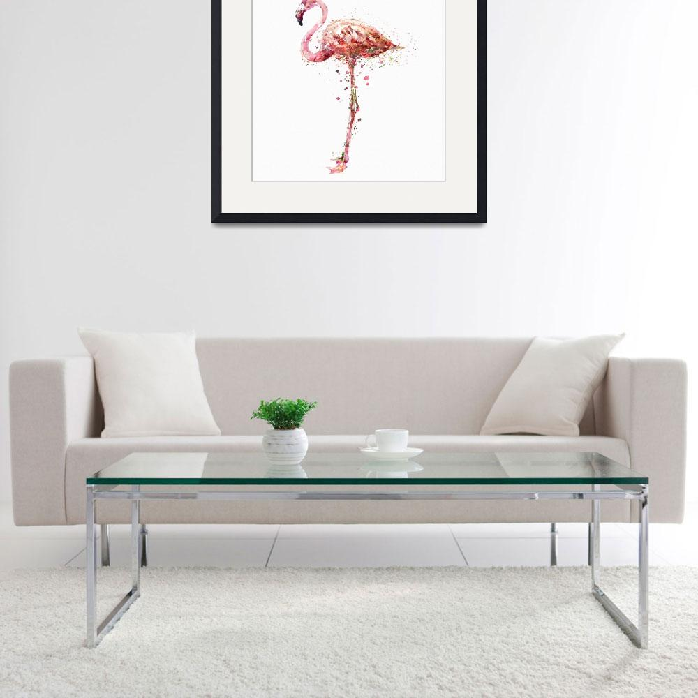 """Flamingo Watercolor Painting&quot  (2015) by MarianVoicu"