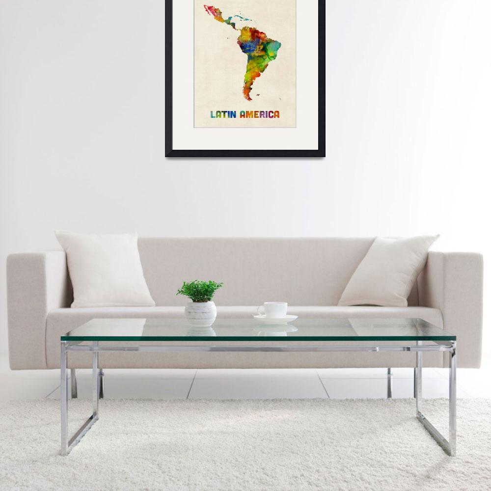 """South America Watercolor Map&quot  (2017) by ModernArtPrints"